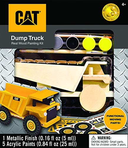 MasterPieces Caterpillar Real Wood Acrylic Paint & Craft Kit, Dump Truck, Mom's Choice Award, For Ages 4+