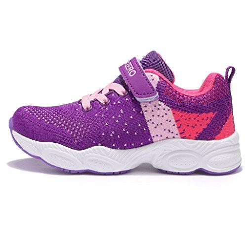 MAYZERO Unisex-Kinder Sneakers Laufen Schuhe Sportschuhe Sneakers Jungen Mädchen Low-Top Sneakers Lila#1