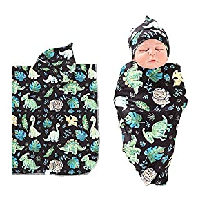 Newborn Baby Receiving Blanket Floral Cotton Dinosaur Baby Swaddle Set Newborn Baby Blanket for Girls and Boys