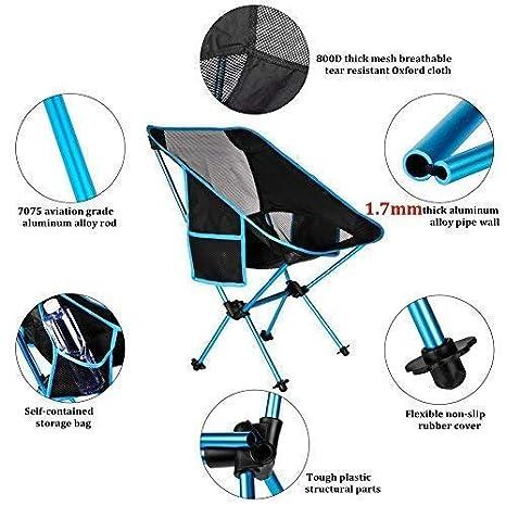 Amazon.com: UgBaBa - Silla de acampada portátil, ligera ...