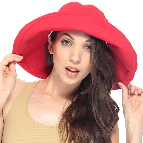 - Lullaby Women UPF50+ Summer Beach Hat Wide Brim Foldable Sun Bucket Hat Red