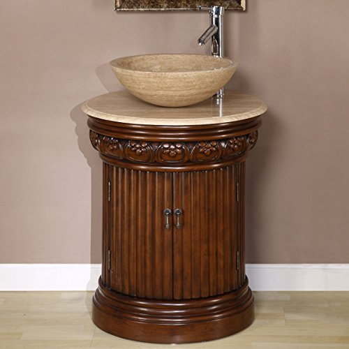 Silkroad Exclusive Countertop Travertine Single Sink Bathroom Vanity with Cabinet, 24-Inch