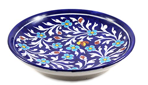 Blue Art Pottery Handmade Crafted Ceramic Wall Hanging Plate Or Collector Plates
