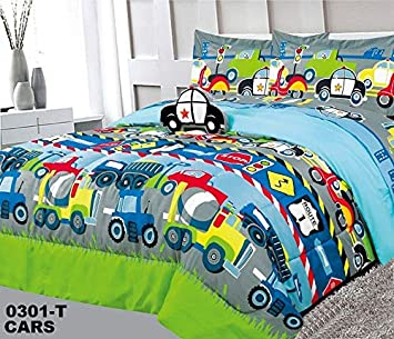 6 Piece Full Size Kids Boys Teens Comforter Set Bed in Bag w/2 Curtain Panels, 2 Shams & Decorative Toy Pillow, Cars Trucks Police Plane Print Blue Green Boys Comforter Bedding Set w/Curtains,F Cars Superior Home