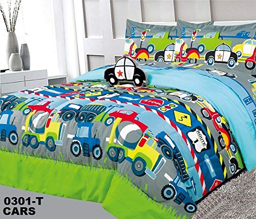 Decorative Truck - 4pc Full Size Kids Boys Teens Comforter Set w/2 Shams & Decorative Toy Pillow, Cars Trucks Police Plane Print Blue Green Boys Kids Comforter Bedding Set, Full Comforter 4pc Cars