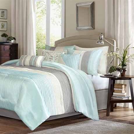 Madison Park MP10-2979 Amherst 7 Piece Comforter Set Queen , Queen, Aqua, Queen