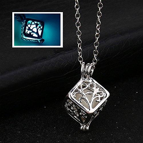 80ae6c93ebc9f Gbell Women Retro Tree Life Cube Pendant Necklace Glow in The Dark - Hollow  Neck Chain Necklaces Jewelry Charm Birthday Valentine Gift Girls Women,50  ...