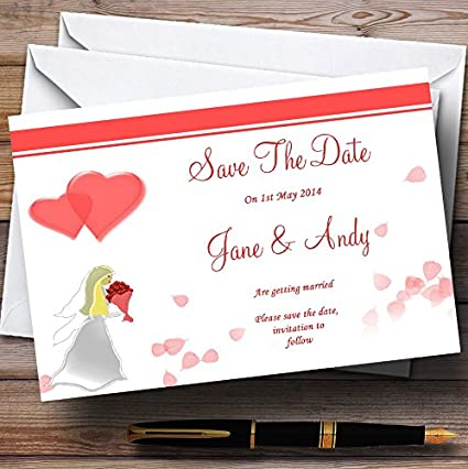 Pink White Personalized Wedding Save The Date Cards