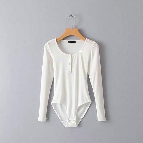 JJHR Bodysuit Moda Mono para Mujer Botón Body Body O Cuello Camisa Manga Larga Primavera Playsuit Tops: Amazon.es: Deportes y aire libre