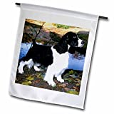 3dRose Dogs English Springer Spaniel – Black And White Springer Spaniel – 18 x 27 inch Garden Flag (fl_949_2) For Sale