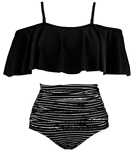 COCOSHIP Black Striped & White Balancing Act Ruffled Bikini Set Flounce Falbala Top Tiered Ruched High Waist Swimsuit Bathing Suit 14