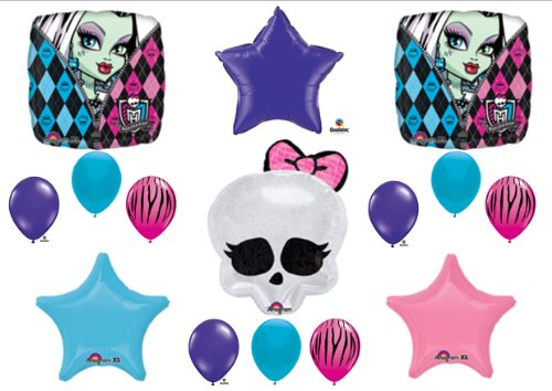 Monster High Skullette Birthday Balloon Bouquet Kit Purple/blue/zebra