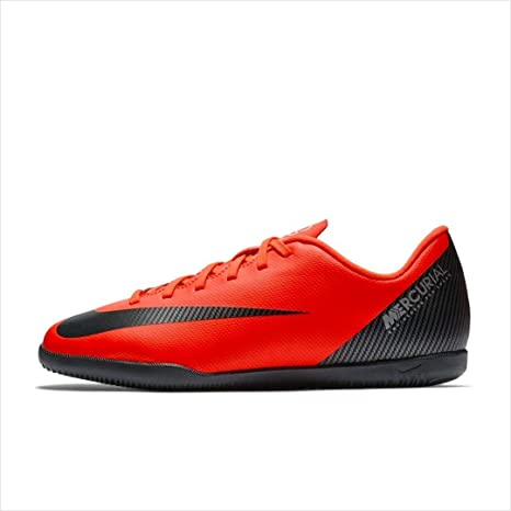 Nike Bota de Futbol CR7 Mercurial Vapor 12 Club GS Suela Lisa Roja Niño