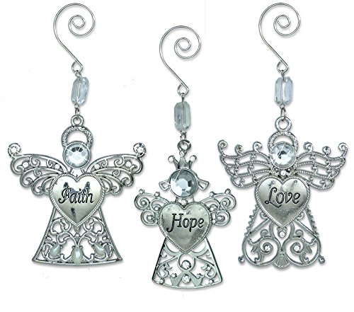 Three Angels Ornament - BANBERRY DESIGNS Faith Hope Love - Set of 3 Angel Ornaments with Faith Hope Love Engraved on Thier Hearts - Christmas Angels Ornaments