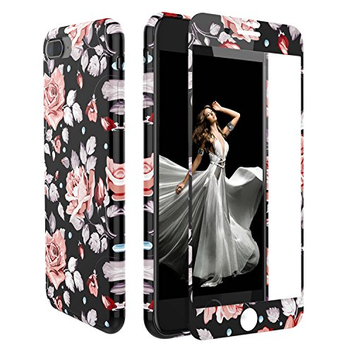 iPhone 7 Plus/iPhone 8 Plus Case Screen Protector,ZXK CO Women Girls Floral TPU Shockproof Case Bumper Cover+[9H Full Cover Tempered Glass Screen Protector] iPhone 8 Plus/7 Plus,5.5 inch