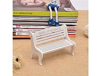 FOUGNOGKISSS Mobili in Miniatura Fairy Garden Bench Ornaments Mobili per la Decorazione del Giardino Fai da Te (Bianco) (Colore : White)