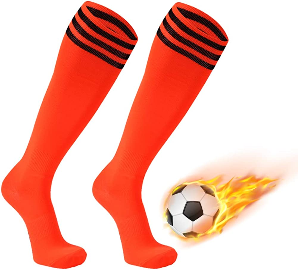Soccer Socks, FOOTPLUS Unisex Knee High Triple Stripe Back to School Football Socks, 2-12 Pairs: Clothing