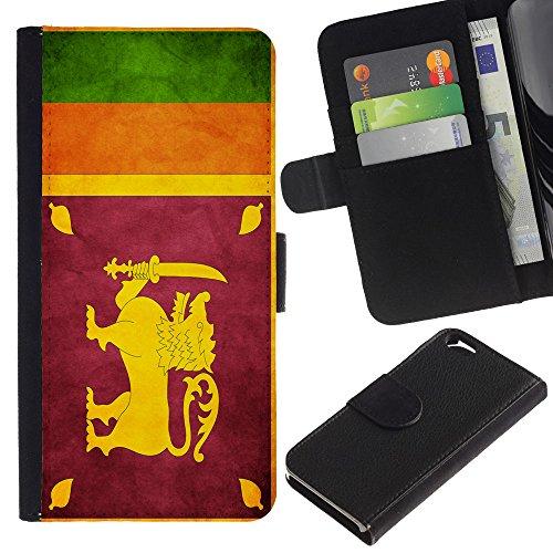 EuroCase - Apple Iphone 6 4.7 - Sri Lanka Grunge Flag - Cuir PU Coverture Shell Armure Coque Coq Cas Etui Housse Case Cover