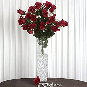 Efavormart 96 Extra Large Artificial Roses Buds Bushes for DIY Wedding Bouquets Centerpieces Party Home Decorations - Burgundy 28