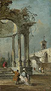 Oil painting 'Francesco Guardi Caprice View with Ruins ' printing on polyster Canvas , 24 x 43 inch / 61 x 108 cm ,the best Bar decoration and Home decoration and Gifts is this Beautiful Art Decorative Canvas Prints