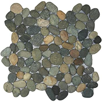 Bali Ocean Pebble Tile 1 Sq.ft. (Mesh Mounted)