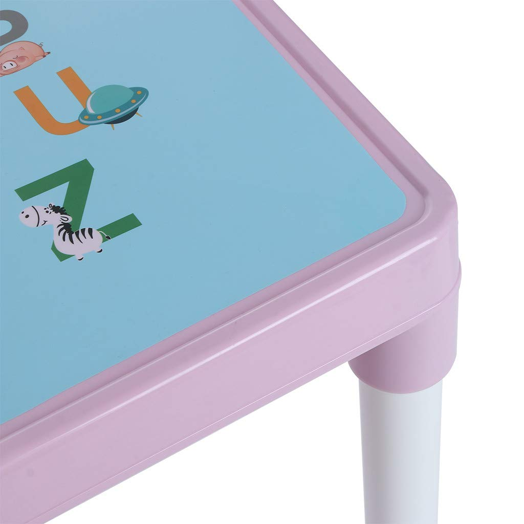 Shipped from US English Alphabet Table Curved Table Corner Kids Furniture Set 3 Piece Toddler Plastic Table and Chairs Set for Boys Or Girls Pink, 3 Piece