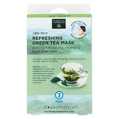 (Earth Therapeutics - Refreshing Green Tea Facial Sheet Mask - 3 Count)