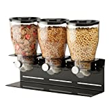 Zevro KCH-06150 Commercial Plus Dry Food Dispenser, Triple Canister, Stainless Steel, Black/Chrome
