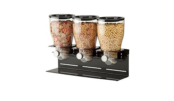 Zevro PROZ - Dispensador triple de comida en seco (acero con revestimiento de polvo), color negro y transparente: Amazon.es: Hogar