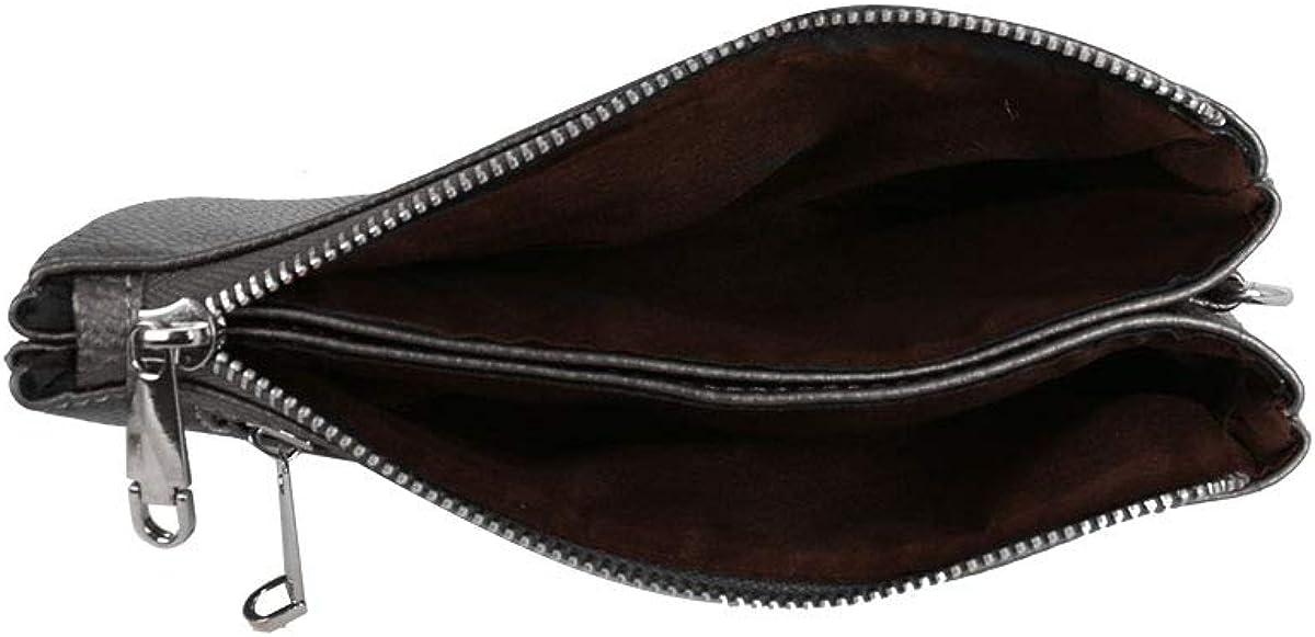 DSUK Sac à bandoulière en cuir PU avec plusieurs poches et bandoulière amovible Étain