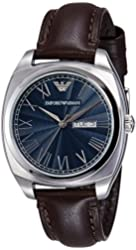 Emporio Armani Men's 'Dress' Quartz Stainless Steel and Brown Leather Dress Watch (Model: AR1940)