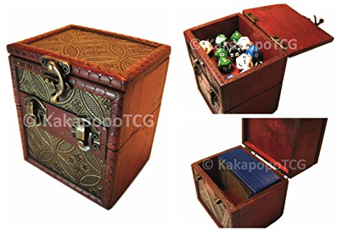 M01C Wood Single Deck and Counter Box for Deck Protector Storage Trading Cards TCG Ultra Pro Sleeve MTG Magic the Gathering Pokemon YGO Yugioh Dungeons and Draongs Dice