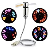 (Newest RGB version) USB LED Programmable Fan for PC Laptop Flexible Gooseneck Colorful Cooling Fan(Colorful LED)