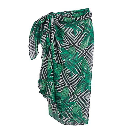 Beachcombers Sheer Tropical Sarong Polyester Black and White Womens Wear