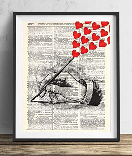 Hand With Hearts Vintage Upcycled Dictionary Art Print 8x10