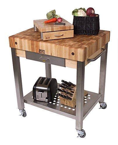 (Cucina Americana Technica Kitchen Cart with Butcher Block Top Counter Top Height: 4