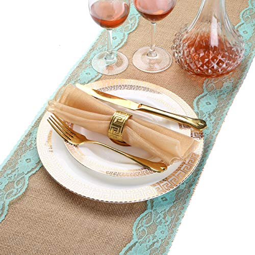 (LOVWY 12 x 108 Inch Burlap Tiffany Lace Vintage Natural Jute Table Runner for Wedding Decoration Country Outdoor Party Décor)