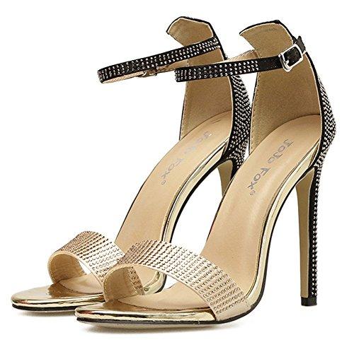 Mujer Zapatos Señoras Estilete Correa Dedo Pie Furtivamente Alto Tacón Mirar Tobillo Strappy Nvxie Negro Del Sandalias fRBwx6B