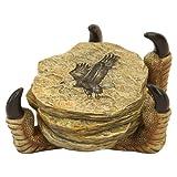 Stone Look Coaster Set with Eagle Imprints, Eagle Claw Grip Talon Holder
