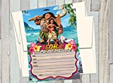 A2ZPlusmore 12 Moana The Movie Birthday Invitations (12 5x7in Cards, 12 Matching White envelopes)