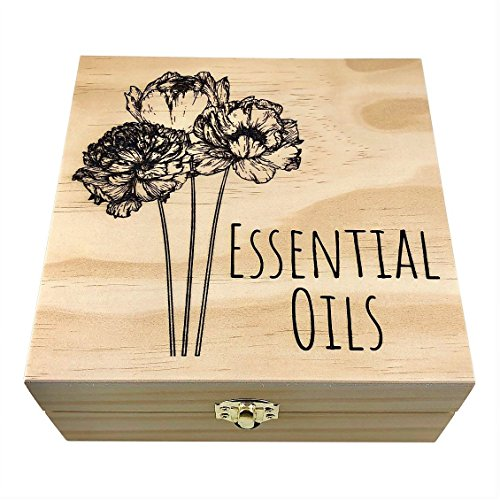 Peony Flowers - PREMIUM Essential Oil Box 25 Slots H.E. Signature Gift Series - Holds 5-15ml Bottles - Wooden Aromatherapy Storage - Fits doTERRA, Young Living, All Major Brands (Natural) (Box Peony)