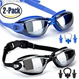 GAOGE Swim Goggles, Swimming Goggles,Pack of 2, Swim Goggles for Adult Men Women Youth Kids Child, Anti Fog UV Protection,with Nose Clip,Ear Plugs