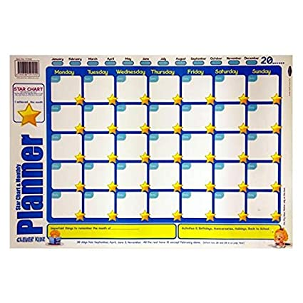 Amazon Com Childrens Star Chart And Monthly Planner Large Wall