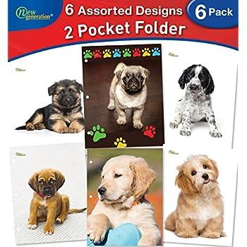 New Generation - Puppies - 2 Pocket Folder / Portfolio , 6 PACK ,Letter Size , 3 Hole Punch folders , Heavy Duty UV Glossy Laminated - Assorted 6 Fashion Designs Folders , Back to School (6 PACK)