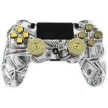 """Mone""Money Talks"" PS4 Custom Modded Controller with Brass Shotgun Thumbsticks and 9mm Bullet Buttons"