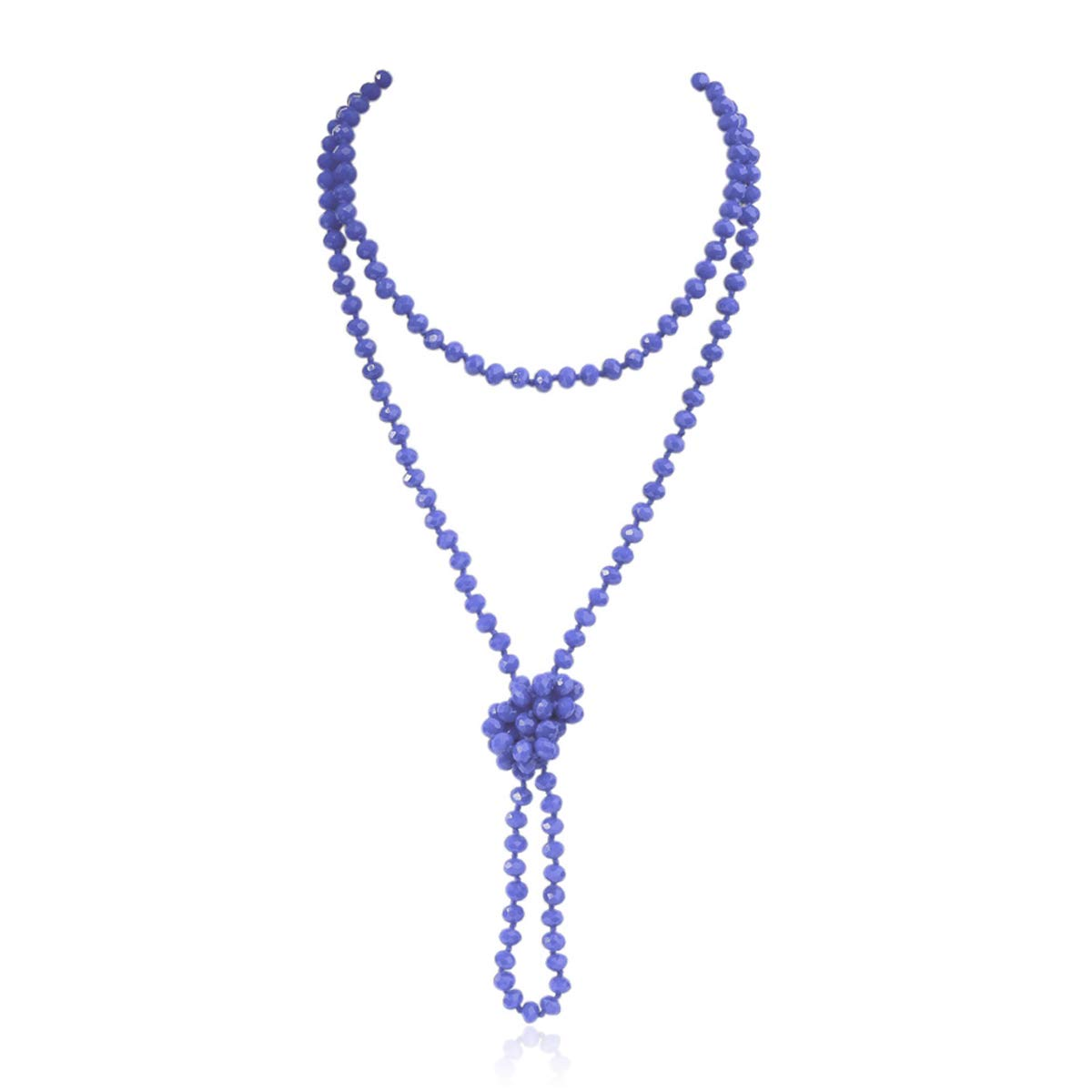 Firstmeet Fashion Glass Beads Rope Knot Long Necklace for Women
