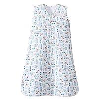 HALO SleepSack 100% Cotton Wearable Blanket, Blue Travel Time, Small