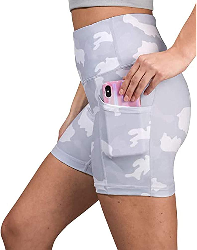 NEWITIN 2 Pieces High Waist Shorts Workout Yoga Shorts with Side Pockets Sport Shorts for Women