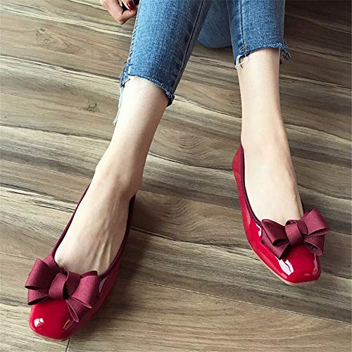 shoes shoes 35 pregnant and EU office women bow summer patent shoes sweet Spring ladies casual work leather comfort FLYRCX shoes flat ZpxwUqHBU