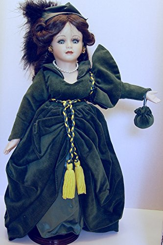 Porcelain 1993 Scarlet O'Hara Doll Seymour Mann Connoisseur Collection in Green Gown 18 Inches Tall